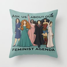 Feminist Agenda Throw Pillow