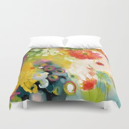 abstract floral art in yellow green and rose magenta colors Duvet Cover