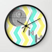 death star Wall Clocks featuring Star Wars Death Star Chevrons by foreverwars