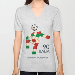 Vintage football poster, Ciao, Italia 90 mascotte, retro football, 1990 world cup Unisex V-Neck