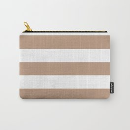 Pale taupe - solid color - white stripes pattern Carry-All Pouch