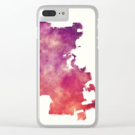 Stockton California city watercolor map in front of a white background Clear iPhone Case