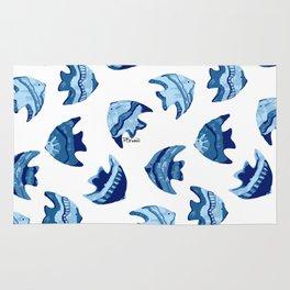 little blue fish pattern Rug