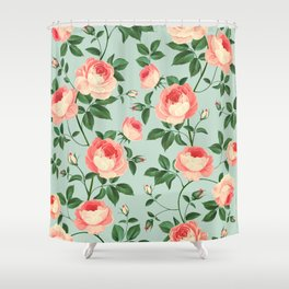 Roses on Turquoise Shower Curtain