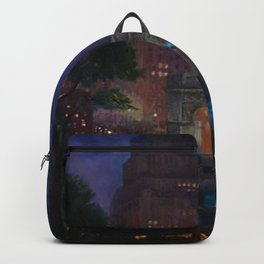 American Masterpiece 'Wet Night, Washington Square, Greenwich Village, NY' by John French Sloan Backpack