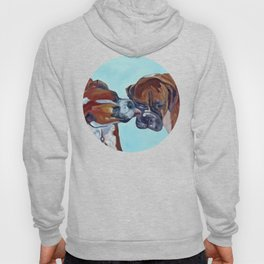 Kissing Boxers Dogs Portrait Hoody