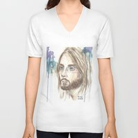 jared leto V-neck T-shirts featuring Leto by SirScm