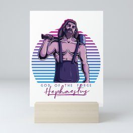 Hephaestus God of the Forge Blacksmith Greek Mythology 80s Neon Retro Mini Art Print