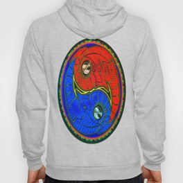 Yin - Yang Equality Dragons Fractal Repeating Pattern Psychedelic Optical Illusion Design #1 Hoody