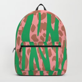 Green Stone Aged Leopard Stripes Pattern Backpack