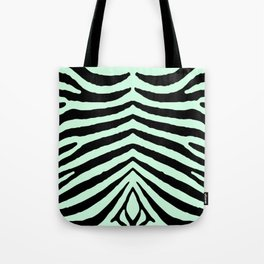 Mint Green Zebra Jungle Stripes Tote Bag