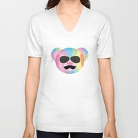 bondage V-neck T-shirts featuring Punk Rainbow Bondage Bear by YOSH FRIDAY