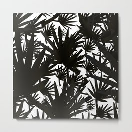 Modern black white abstract tropical leaves pattern Metal Print