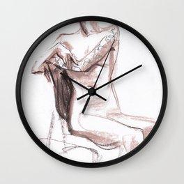 Nude model, life sketch Wall Clock