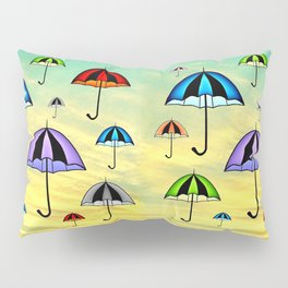 Colorful umbrellas flying in the sky Pillow Sham