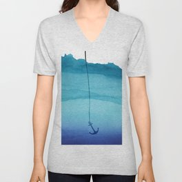 Cute Sinking Anchor in Sea Blue Watercolor Unisex V-Neck