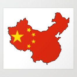 China Map with Chinese Flag Art Print