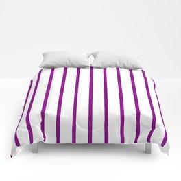 Vertical Lines (Purple/White) Comforters