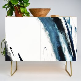 Reykjavik: a pretty and minimal mixed media piece in black, white, and blue Credenza