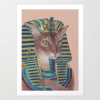 egyptian Art Prints featuring Egyptian Cat by Rachel Waterman
