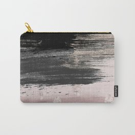 Abstract blush pink black gray gold glitter brushstrokes Carry-All Pouch
