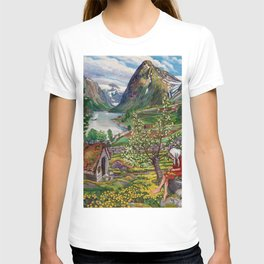 Alpine Lake Landscape, 'Girl, Springtime & Marigolds' by Nikolai Astrup T-shirt