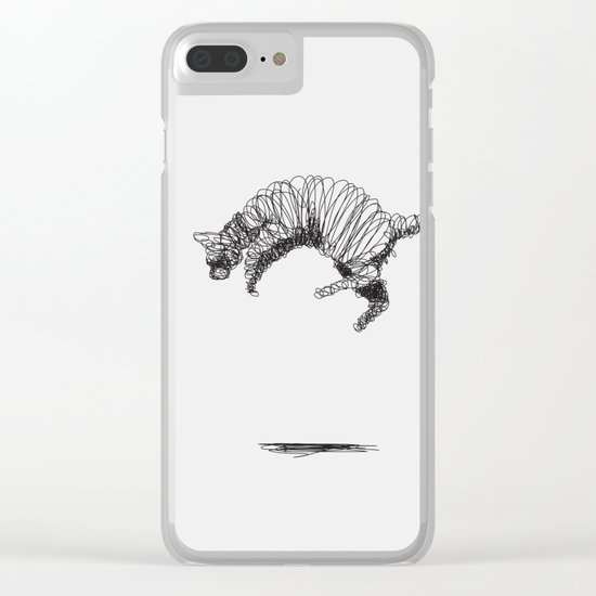 Cat Flying Clear iPhone Case