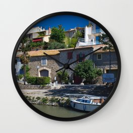 old houses on the canal du midi, france 2 Wall Clock