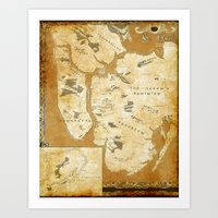 westeros Art Prints featuring Fantasy Map of New York: Gold Parchment by Midgard Maps