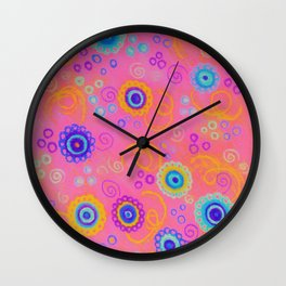 RASPBERRY FIZZ - Sweet Pink Fruity Candy Swirls Abstract Watercolor Painting Bright Feminine Art Wall Clock