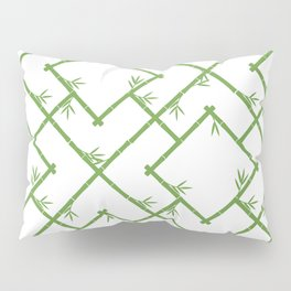 Bamboo Chinoiserie Lattice in White + Green Pillow Sham