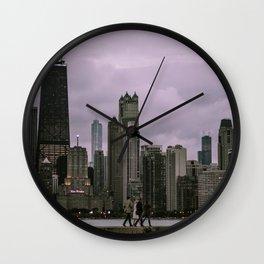 Purple Chicago Evening Wall Clock