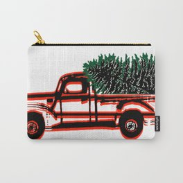 Vintage Red Truck with Christmas Tree Carry-All Pouch