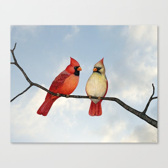 cardinal couple Canvas Print