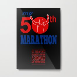 50th Marathon Race Poster  Metal Print