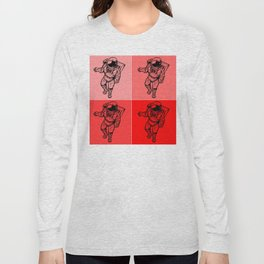 Astronaut (Bright Red) Long Sleeve T-shirt