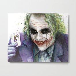 Joker Why So Serious Watercolor Metal Print
