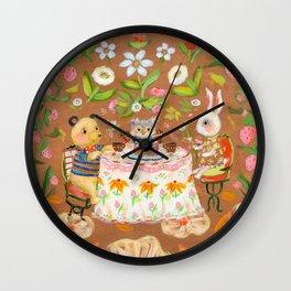 Birthday in strawberry field Wall Clock
