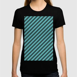 Electric Blue and Black Diagonal RTL Var Size Stripes T-shirt