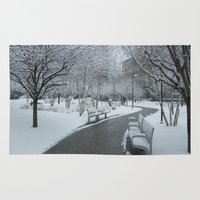 pittsburgh Area & Throw Rugs featuring PITTSBURGH PARK by Stephanie Bosworth