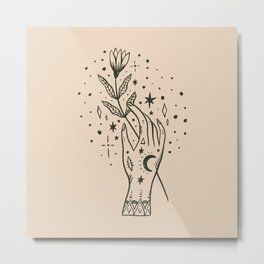 Hand with Flower Metal Print