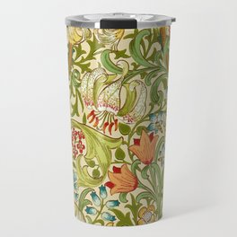 William Morris Golden Lily Vintage Pre-Raphaelite Floral Art Travel Mug