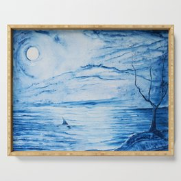 Full moon over shallow water Serving Tray