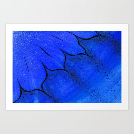 Blue Fire Flower Art Print
