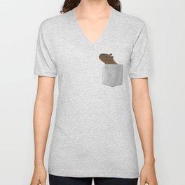 Capybara In Your Pocket- Funny Animal Peeking Unisex V-Neck