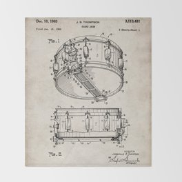 Snare Patent - Musician Art - Antique Throw Blanket