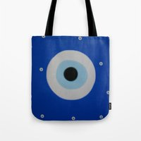 evil eye Tote Bags featuring Evil Eye by S Joyce