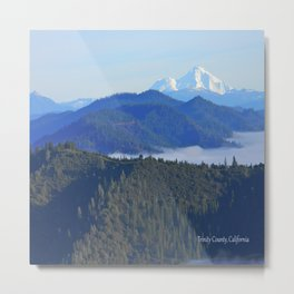 Past the drifting fog is Mount Lassen... Metal Print