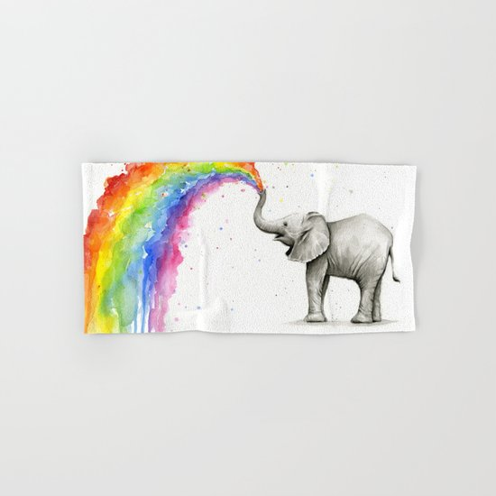 Baby Elephant Spraying Rainbow Whimsical Animals Hand & Bath Towel