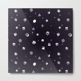 Polyhedral Dice- Purple Nebula Metal Print